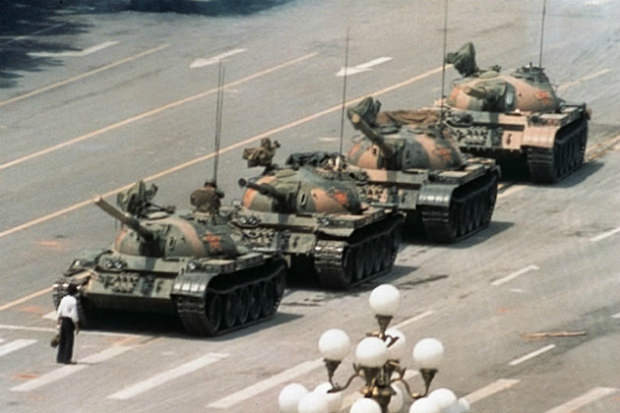 Tiananmen Square 'Tank Man' - a famous act of courage.