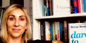suzi and bookshelf